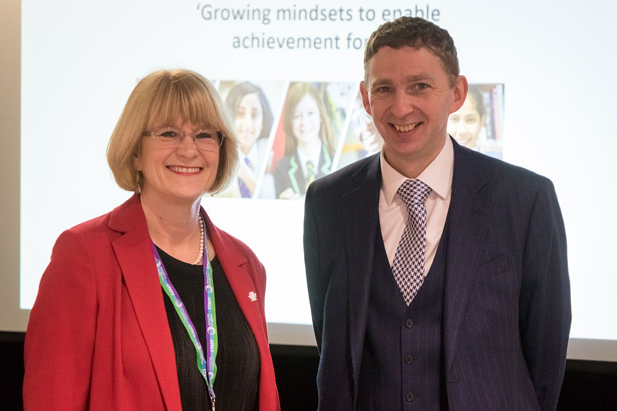 Ms Patsy Kane OBE MA, Executive Headteacher (Sep 2014 – Aug 2019) and Chris Hildrew, Headteacher at Churchill Academy