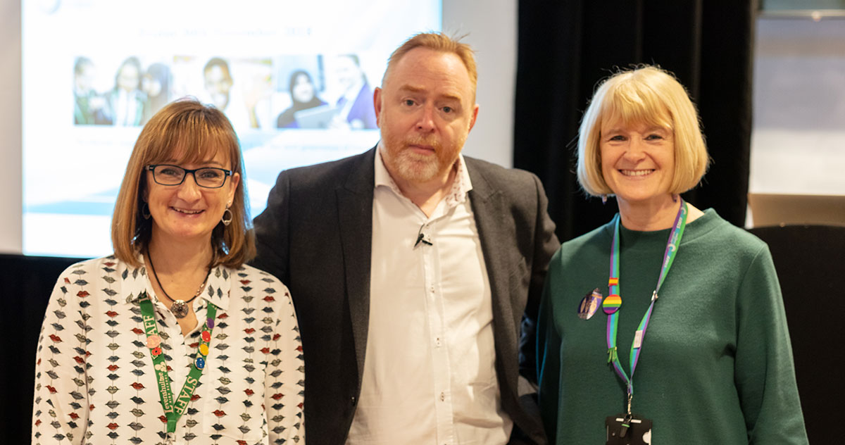 Left: Dr Johan MacKinnon (Executive Headteacher), centre: David Didau (AKA The Learning Spy), right: Ms Patsy Kane OBE MA, Executive Headteacher (Sep 2014 – Aug 2019), at our whole Trust INSET day at the Etihad Stadium in 2018