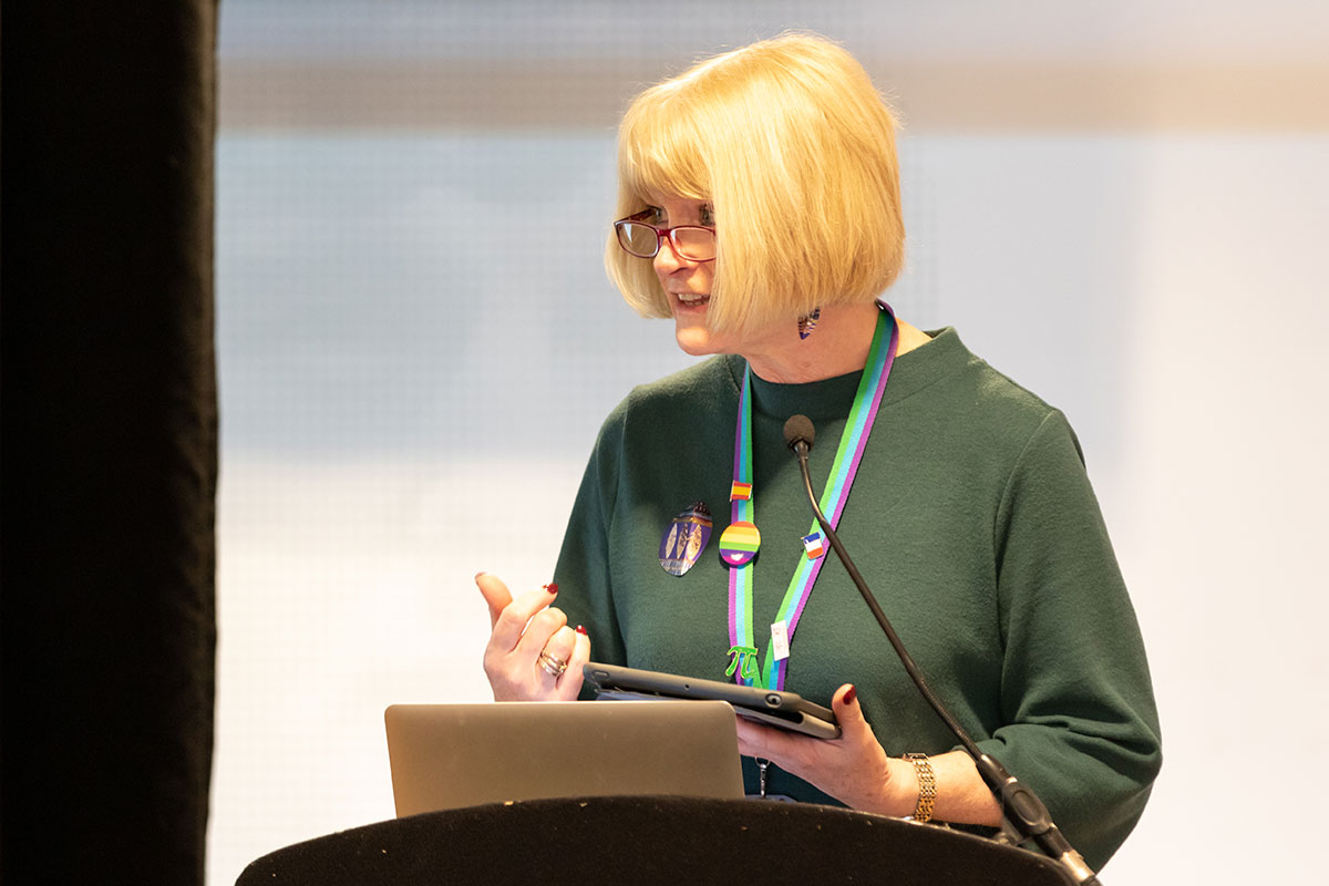 Ms Patsy Kane OBE MA at our whole trust INSET day at the Etihad Stadium in 2018